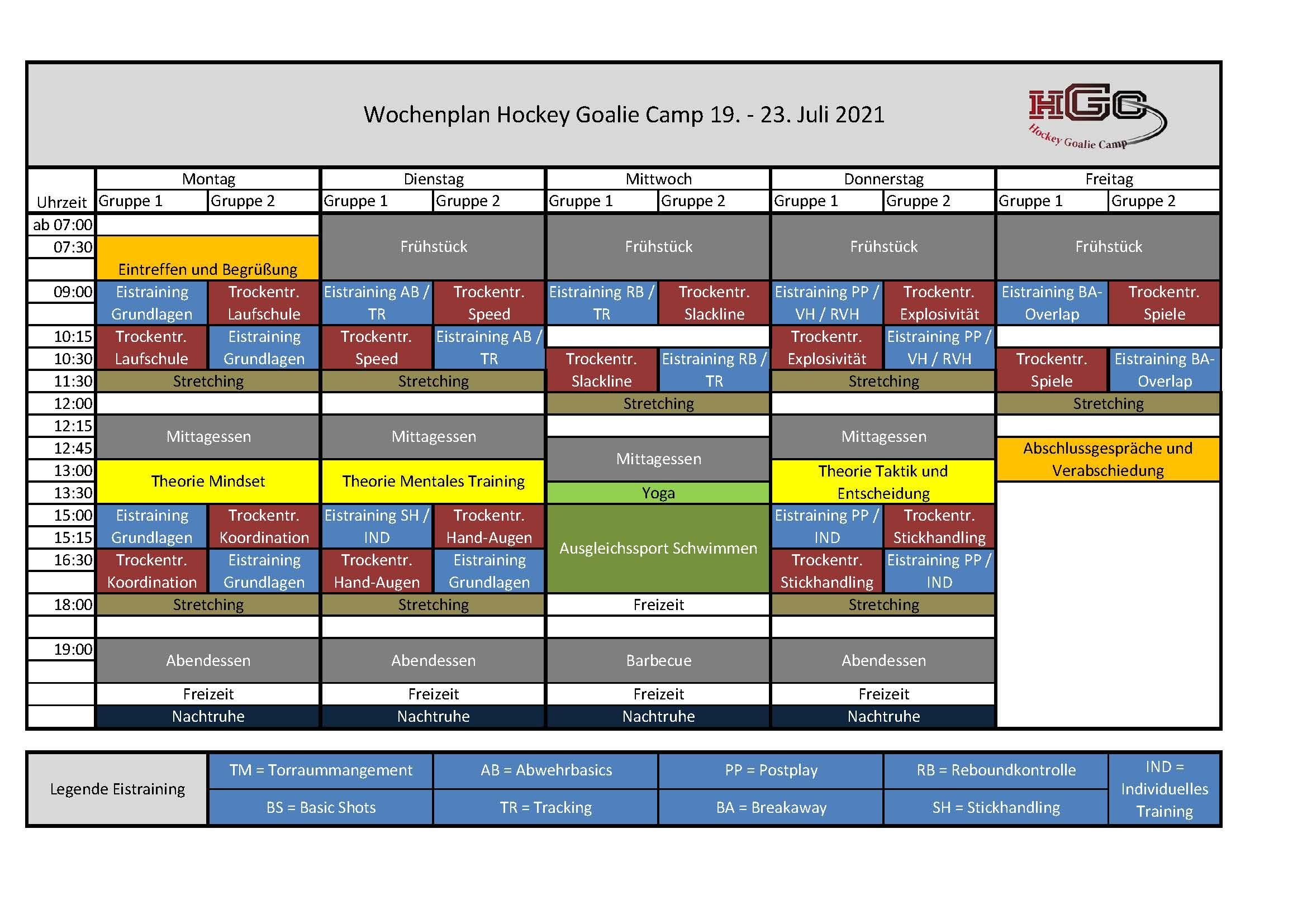 Wochenplan HockeyGoalieCamp 2021